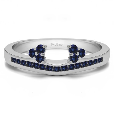 0.25 Ct. Sapphire Round Cluster Contour Channel Set Anniversary Ring Wrap