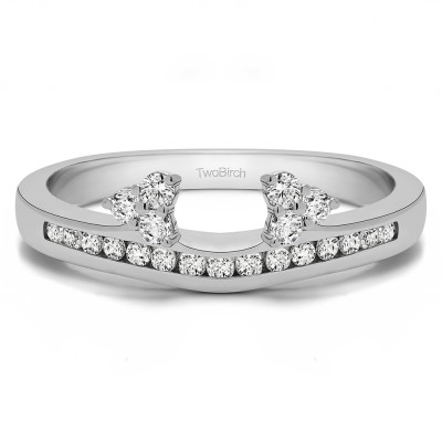 0.51 Ct. Round Cluster Contour Channel Set Anniversary Ring Wrap