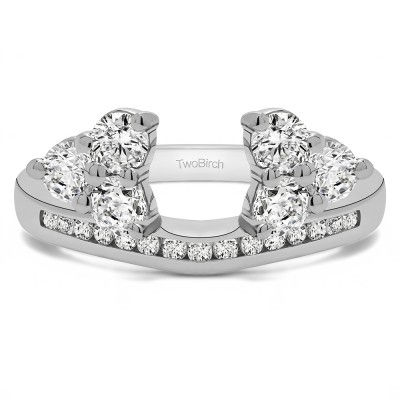 0.75 Ct. Round Cluster Contour Channel Set Anniversary Ring Wrap
