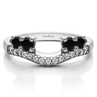 0.49 Ct. Black and White Shared Prong Contour Four Stone Anniversary Ring Wrap