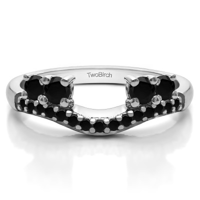 0.49 Ct. Black Shared Prong Contour Four Stone Anniversary Ring Wrap