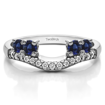 0.49 Ct. Sapphire and Diamond Shared Prong Contour Four Stone Anniversary Ring Wrap