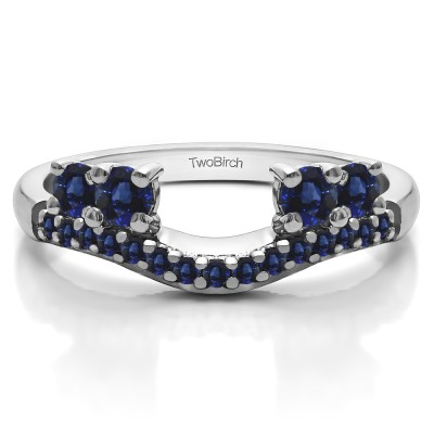 0.49 Ct. Sapphire Shared Prong Contour Four Stone Anniversary Ring Wrap