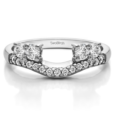 0.49 Ct. Shared Prong Contour Four Stone Anniversary Ring Wrap With Cubic Zirconia Mounted in Sterling Silver (Size 7)