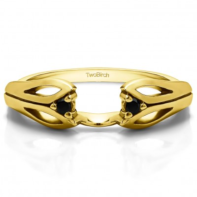 0.04 Ct. Black Leaf Cut Out Ring Wrap  in Yellow Gold