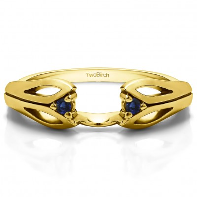 0.04 Ct. Sapphire Leaf Cut Out Ring Wrap  in Yellow Gold