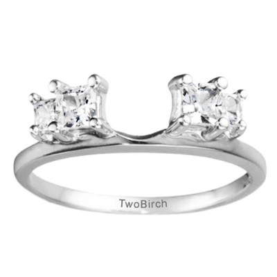 0.7 Ct. Graduated Four Stone Princess Cut Ring Wrap
