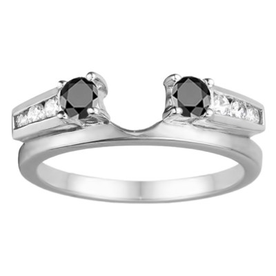 0.4 Ct. Black and White Round Channel and Prong Set Solitaire Ring Wrap