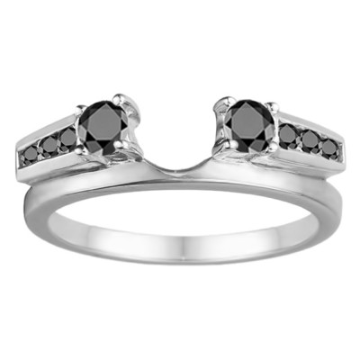 0.5 Ct. Black Round Channel and Prong Set Solitaire Ring Wrap