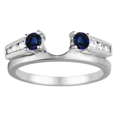 0.4 Ct. Sapphire and Diamond Round Channel and Prong Set Solitaire Ring Wrap