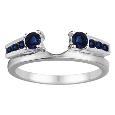 0.4 Ct. Sapphire Round Channel and Prong Set Solitaire Ring Wrap