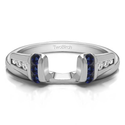 0.24 Ct. Sapphire and Diamond Channel Set Ring Wrap Enhancer Jacket