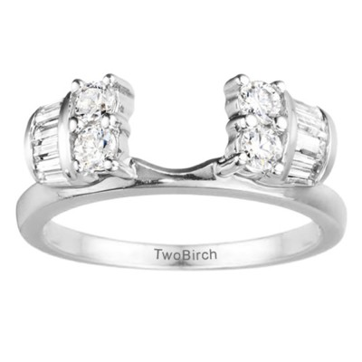 0.48 Ct. Round and Baguette Channel and Prong Ring Wrap Jacket