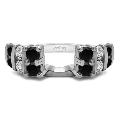 0.25 Ct. Black and White Three Row Bar Set Ring Wrap