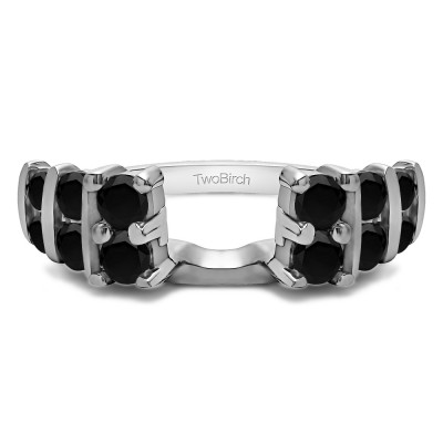 0.25 Ct. Black Three Row Bar Set Ring Wrap