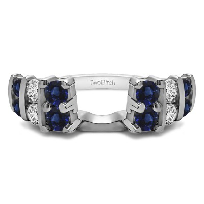 0.25 Ct. Sapphire and Diamond Three Row Bar Set Ring Wrap