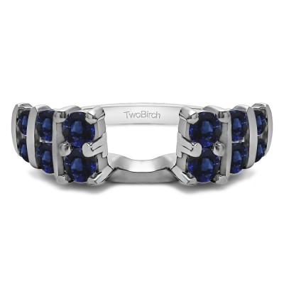 0.25 Ct. Sapphire Three Row Bar Set Ring Wrap
