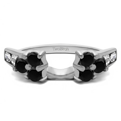 0.76 Ct. Black and White Cluster ring wrap
