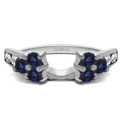 0.26 Ct. Sapphire and Diamond Cluster ring wrap