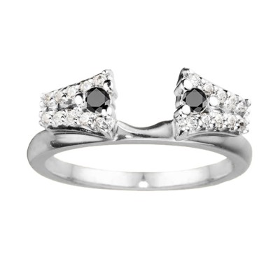 0.5 Ct. Black and White Double Row ring wrap