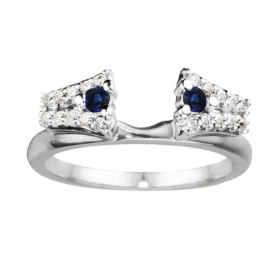 0.3 Ct. Sapphire and Diamond Double Row ring wrap