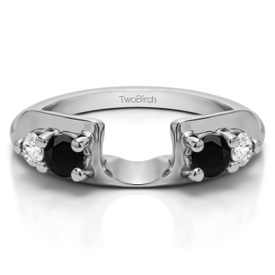 0.48 Ct. Black and White Graduated Four Stone Round Wedding Ring Wrap