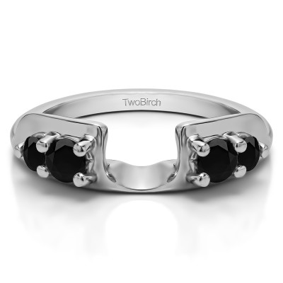 0.48 Ct. Black Graduated Four Stone Round Wedding Ring Wrap