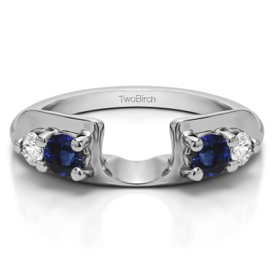 0.25 Ct. Sapphire and Diamond Graduated Four Stone Round Wedding Ring Wrap