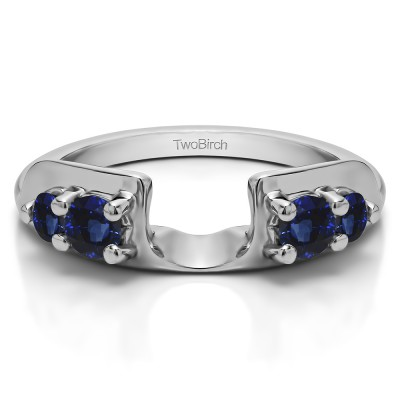 0.25 Ct. Sapphire Graduated Four Stone Round Wedding Ring Wrap