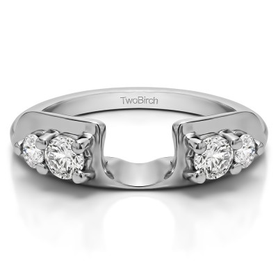 0.48 Ct. Graduated Four Stone Round Wedding Ring Wrap