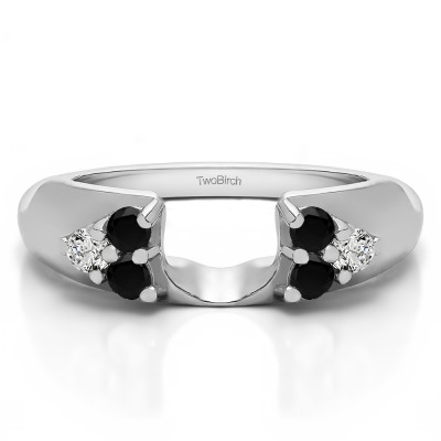 0.48 Ct. Black and White Cluster Prong Wedding ring wrap