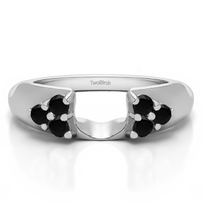 0.48 Ct. Black Cluster Prong Wedding ring wrap