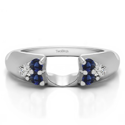 0.24 Ct. Sapphire and Diamond Cluster Prong Wedding ring wrap