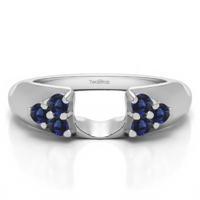 0.24 Ct. Sapphire Cluster Prong Wedding ring wrap