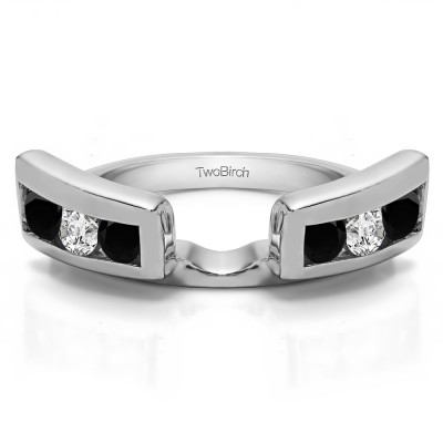 0.24 Ct. Black and White Six Stone Channel Set Ring Wrap Jacket