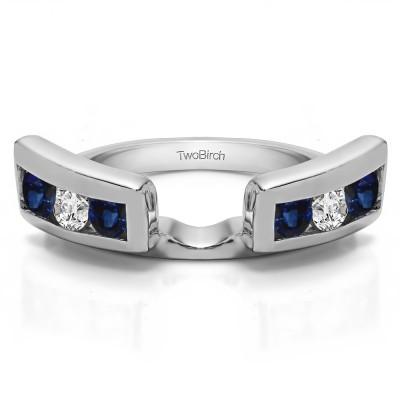 0.24 Ct. Sapphire and Diamond Six Stone Channel Set Ring Wrap Jacket