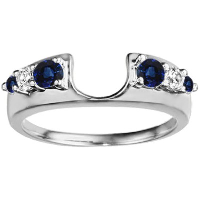 0.25 Ct. Sapphire and Diamond Six Stone Shared Prong Graduated Ring Enhancer