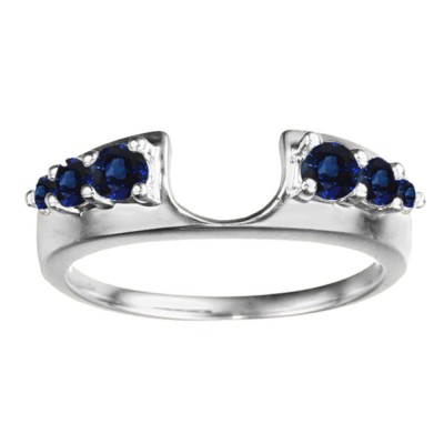 0.25 Ct. Sapphire Six Stone Shared Prong Graduated Ring Enhancer