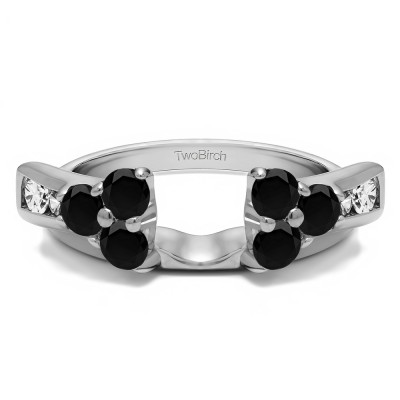 0.73 Ct. Black and White Prong Cluster and Channel Set Ring Wrap Enhancer