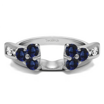 0.34 Ct. Sapphire and Diamond Prong Cluster and Channel Set Ring Wrap Enhancer