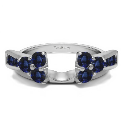 0.34 Ct. Sapphire Prong Cluster and Channel Set Ring Wrap Enhancer