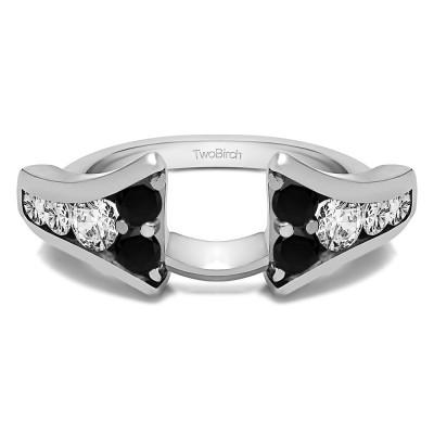 1 Ct. Black and White Round Chevron Wedding Ring Wrap Enhancer