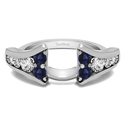 0.25 Ct. Sapphire and Diamond Round Chevron Wedding Ring Wrap Enhancer