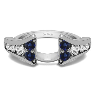 0.25 Ct. Sapphire and Diamond Round Chevron Wedding Ring Wrap Enhancer