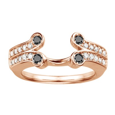 0.5 Ct. Black and White Bezel Y Double Row Solitaire Ring Wrap in Rose Gold