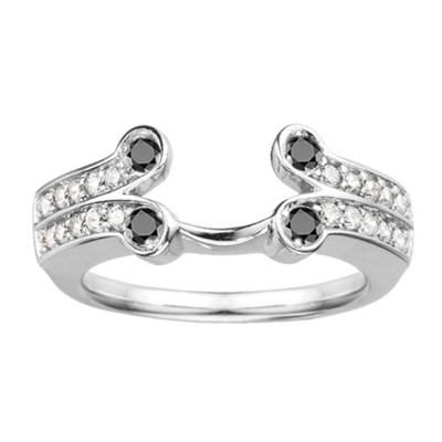 0.5 Ct. Black and White Bezel Y Double Row Solitaire Ring Wrap