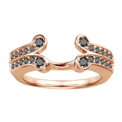 0.5 Ct. Black Bezel Y Double Row Solitaire Ring Wrap in Rose Gold