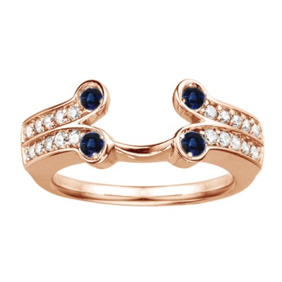 0.5 Ct. Sapphire and Diamond Bezel Y Double Row Solitaire Ring Wrap in Rose Gold