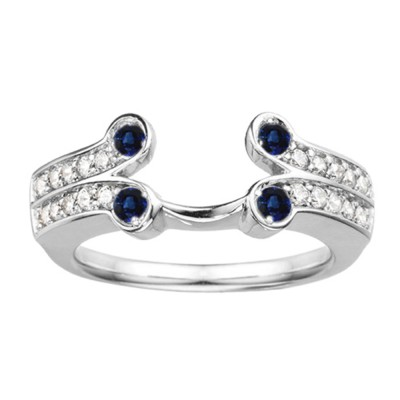 0.5 Ct. Sapphire and Diamond Bezel Y Double Row Solitaire Ring Wrap