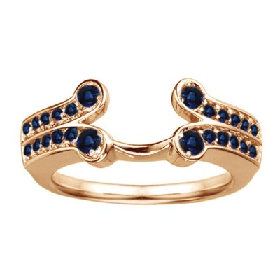 0.5 Ct. Sapphire Bezel Y Double Row Solitaire Ring Wrap in Rose Gold